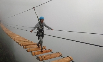 thrilling newly opened suspension bridge in sapa