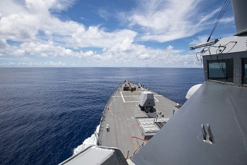 us navy destroyer sails near the truong sa spratly islands