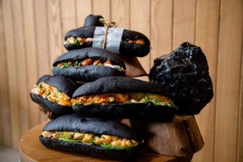 unique charcoal like black bread in ha long