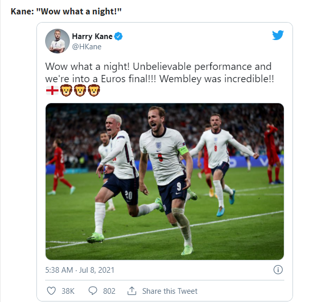 EURO 2020 TODAY (July 8): England 2 1 Denmark, Kane steers England to the final
