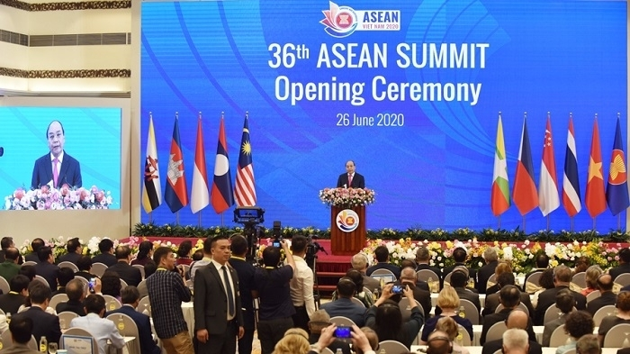 Vietnamese Prime Minister Nguyen Xuan Phuc speaks at the opening ceremony of the 36th ASEAN Summit on June 26