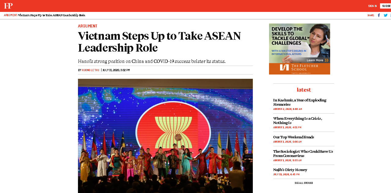 us magazine speaks highly of vietnams leadership capacity in asean