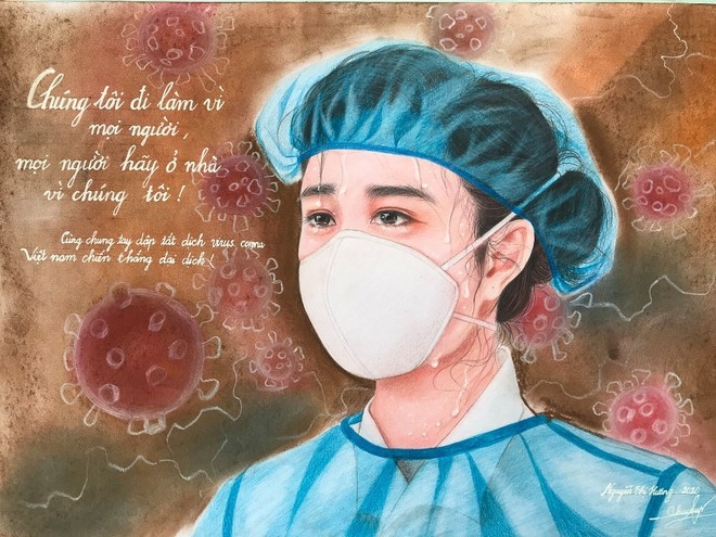 Nguyen Thi Huong's first painting depicts a female frontline doctor who spends days and nights working in hospitals
