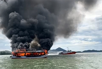 massive fire engulfs cruise ship in southern vietnam