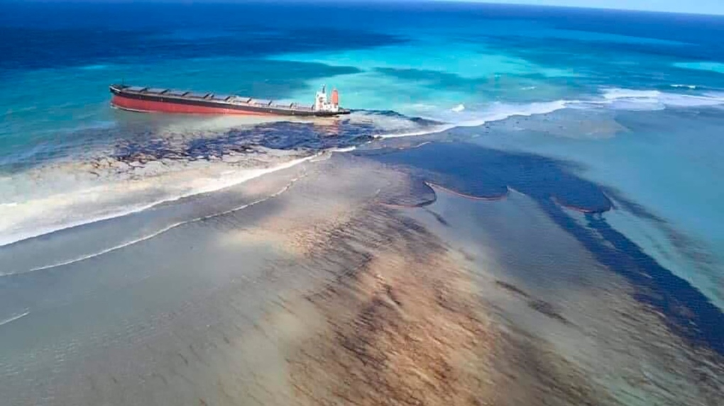 """The Indian Ocean island of Mauritius declared a """"state of environmental emergency"""" late Friday after a Japanese-owned ship that ran aground offshore days ago began spilling tons of fuel"""