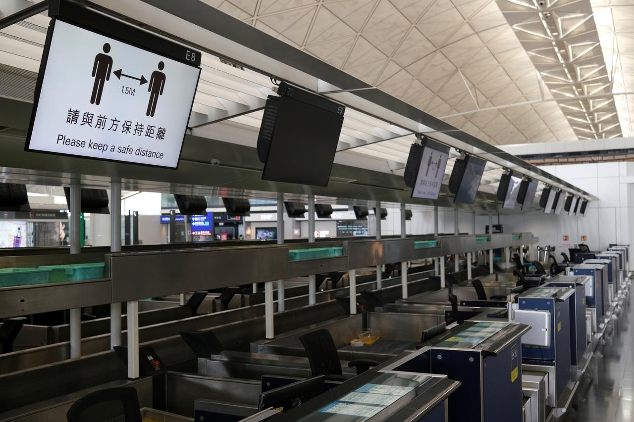 Hong Kong International Airport is left deserted due to social distancing order
