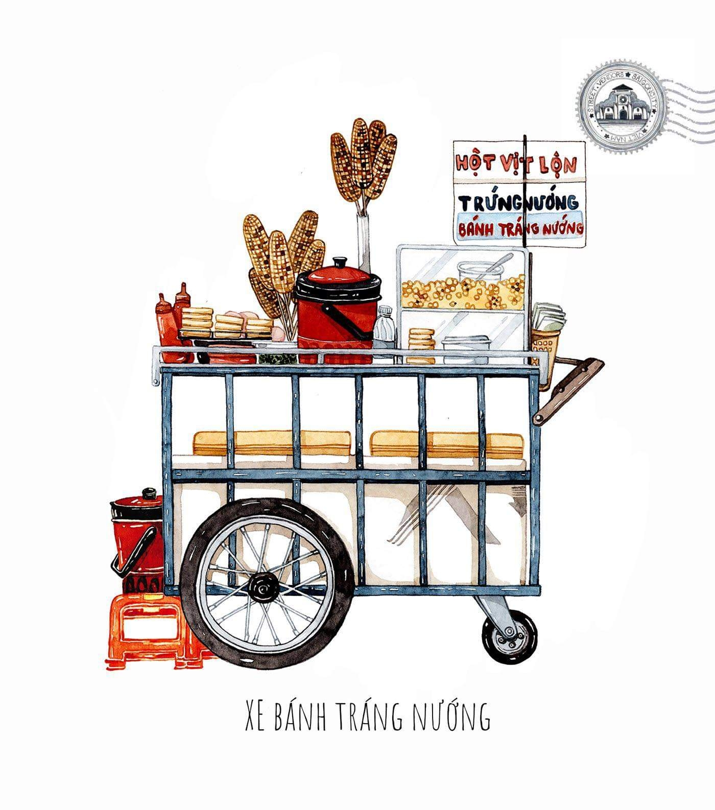 sketches of foodcarts reveal a glimpse into vietnamese culinary culture