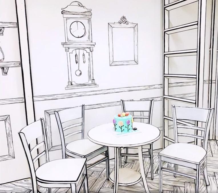 Contoured lines turn Vietnamese café into anime world