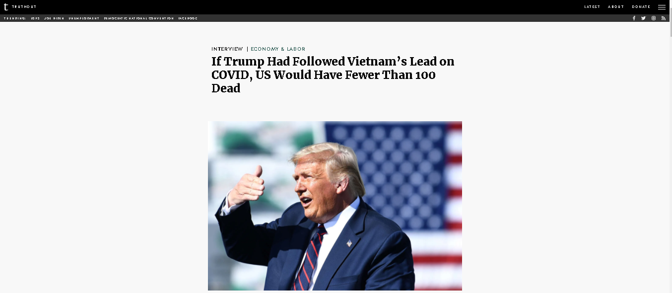 us expert if trump had followed vietnams lead on covid 19 us would have fewer than 100 dead