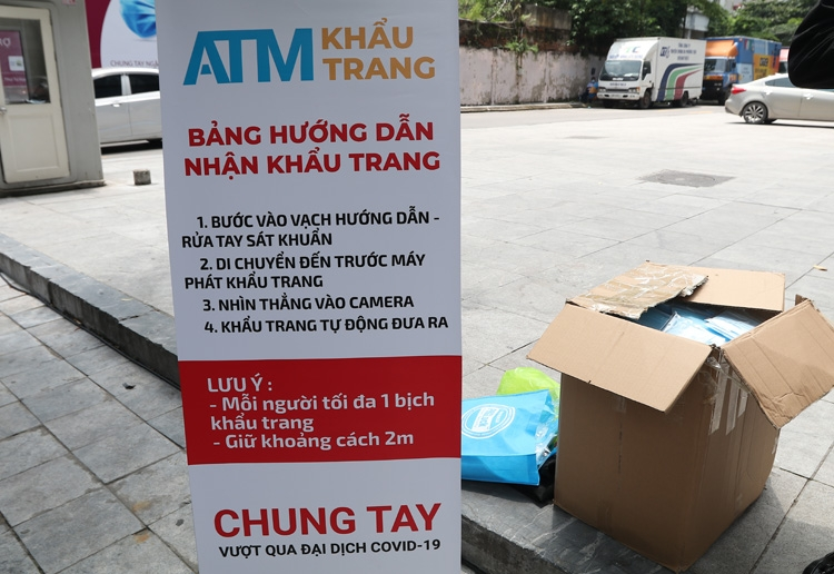 vietnam makes debut free face mask atm with automatic facial recognition utility