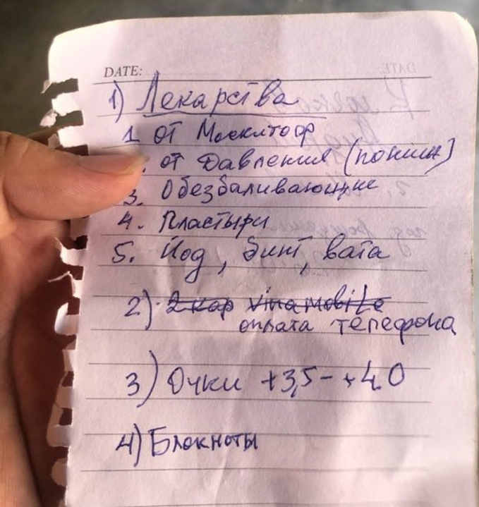 Andrey jotted down a long list of needed items during his stay in Mui Ne