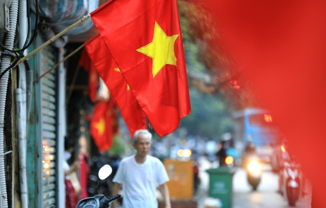 hanoi adorned with flags and banners in celebration of independence day september 2