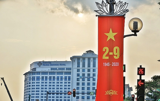 Hanoi adorned with flags and banners in celebration of Independence Day (September 2)