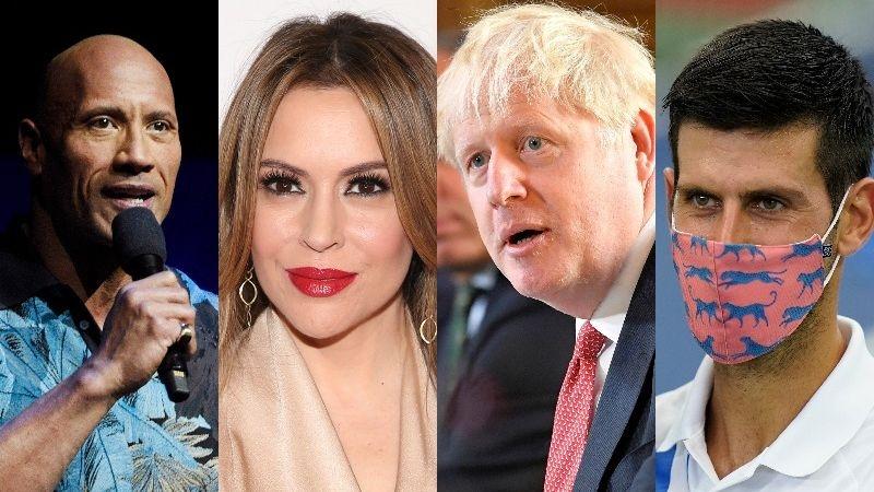 Dwayne Johnson, Alyssa Milano, Boris Johnson and Novak Djokovic are among dozens of celebrities, politicians and athletes who have tested positive for coronavirus.