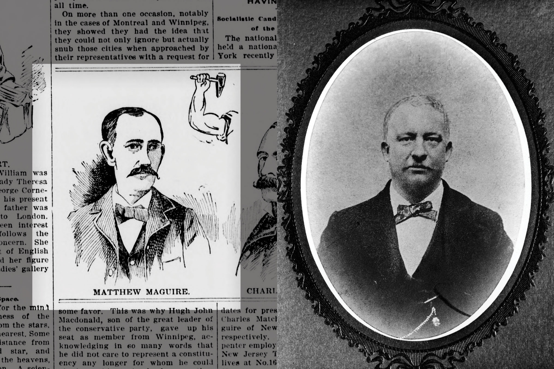 An illustration of Matthew Maguire in the Sept. 24, 1896, issue of the Lewiston Teller; Portrait of Peter J. McGuire
