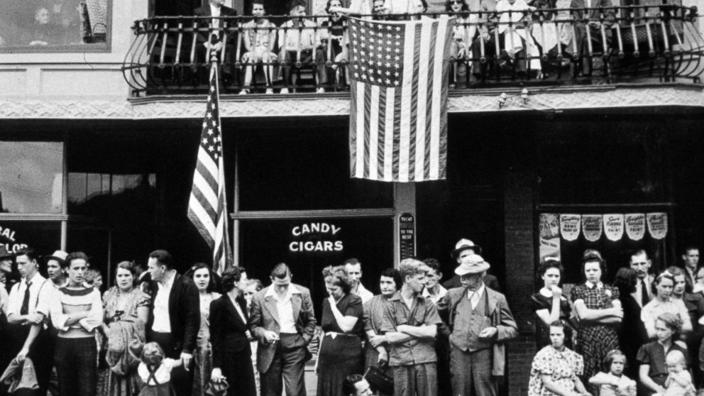 Spectators look on at a Labor Day parade, Sept. 1, 1940, in Du Bois, Penn