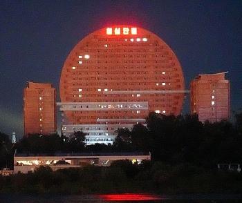 north koreas sun rising building blocking views of china completed