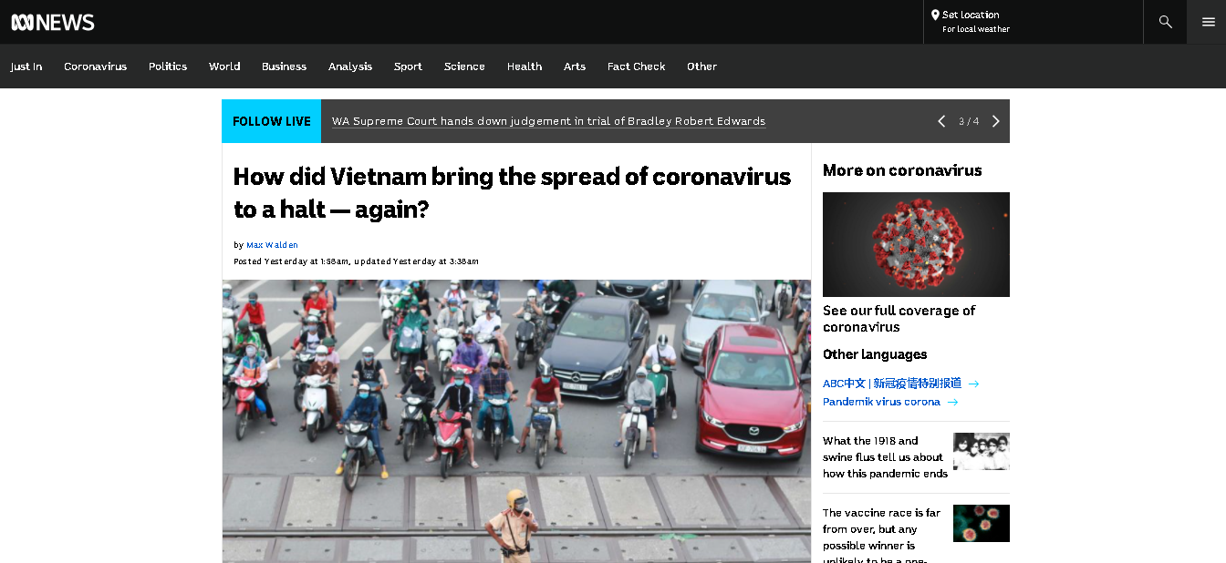 Vietnam's efforts in stamping out COVID-19 twice is praised in Australian news outlet
