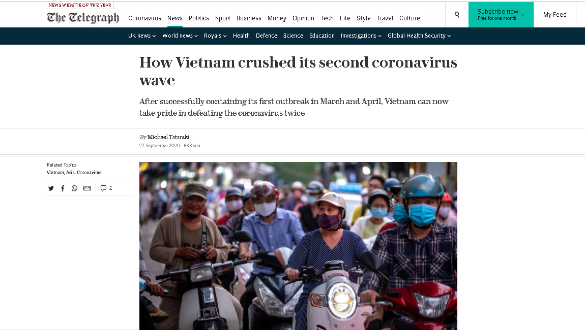 Telegraph explains how Vietnam can 'take pride in defeating COVID-19 twice'