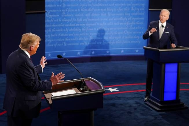 President Donald Trump and Democratic challenger Joe Biden squared off Tuesday night in their crucial first debate (Photo: Las Vegas Sun)