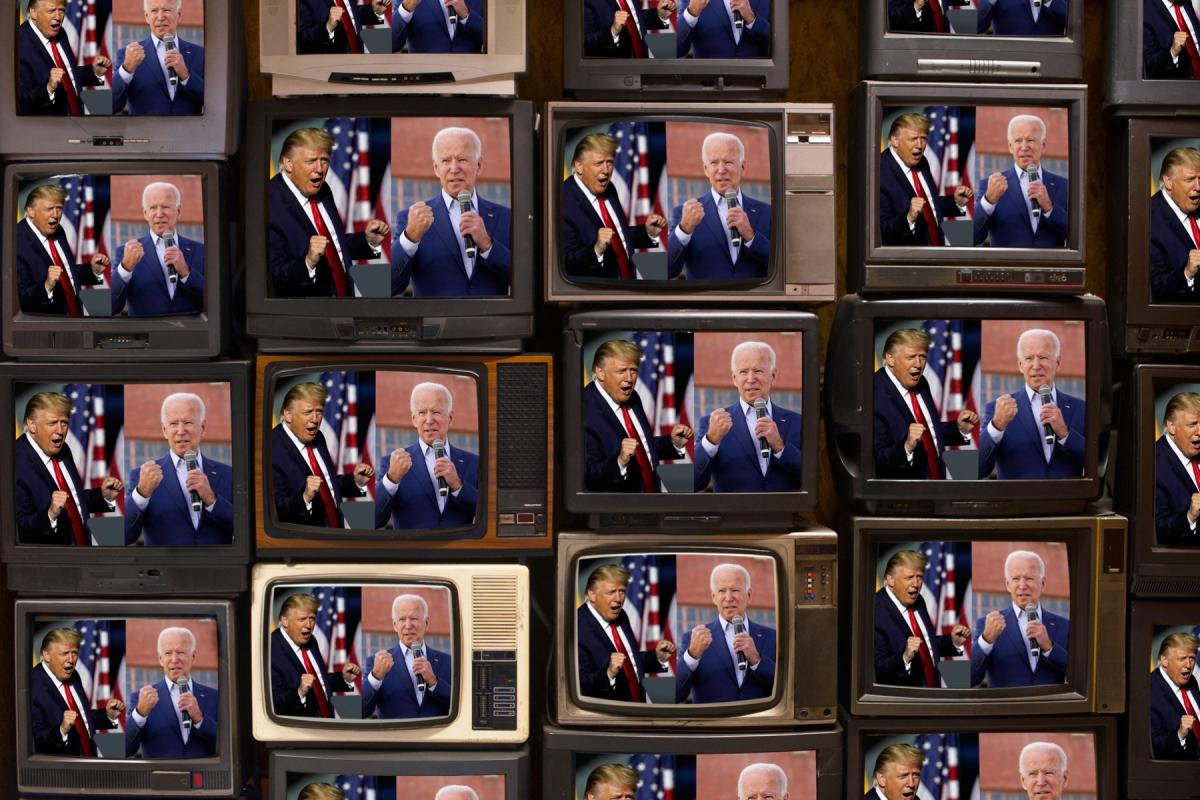 Photo illustration by Joe Rodriguez. Images in illustration: Steve Helber/AP Images(Trump); Carolyn Kaster/AP Images (Biden) Getty Images (TV's)