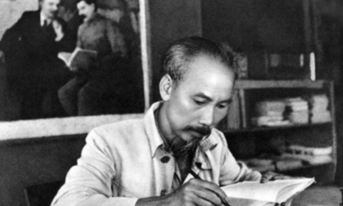 President Ho Chi Minh with Aspiration for Independence, Freedom, Happiness spotlighted