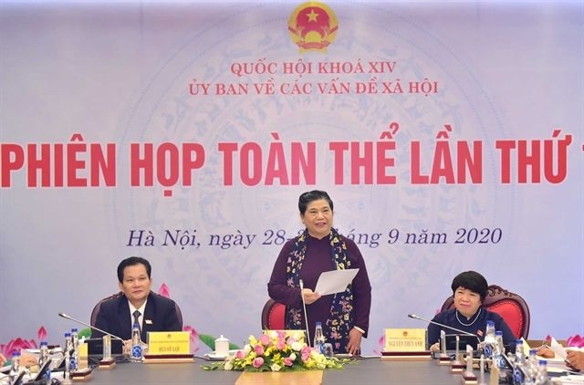 Permanent Deputy Chairwoman of the National Assembly Tong Thi Phong (standing) gives a speech at the meeting in Hanoi.