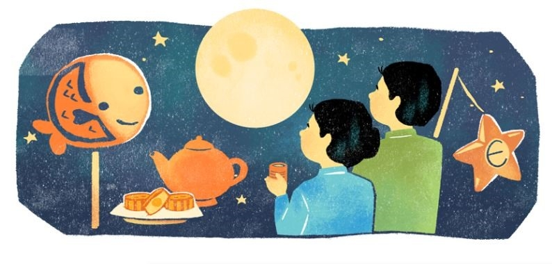google doodle celebrates mid autumn festival with evocative illustration
