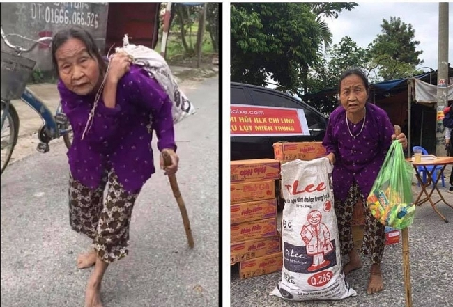 Flood in Central Vietnam: Heart-touching video of old grandma carries donated clothes on back