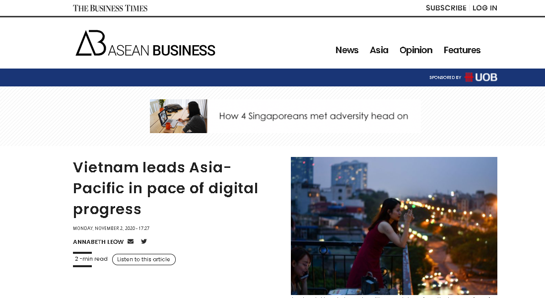 Asean business dedicates one article to praise vietnam's fast digital progress. (photo: captured)