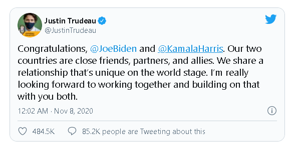 World leaders congratulate Joe Biden for election victory