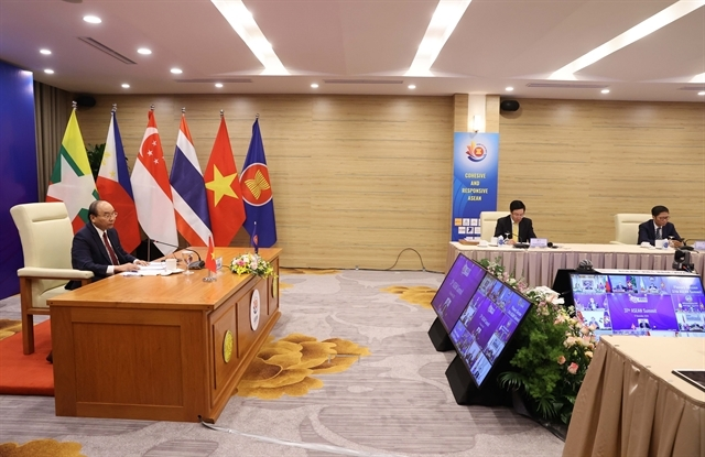 Prime minister nguyen xuan phuc announes việt nam's donation at the 37th asean summit. (photo: vna)