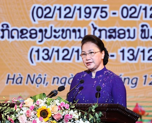 National Assembly Chairwoman Nguyen Thi Kim Ngan addresses the ceremony in Hanoi on December 2 (Photo: VNA)