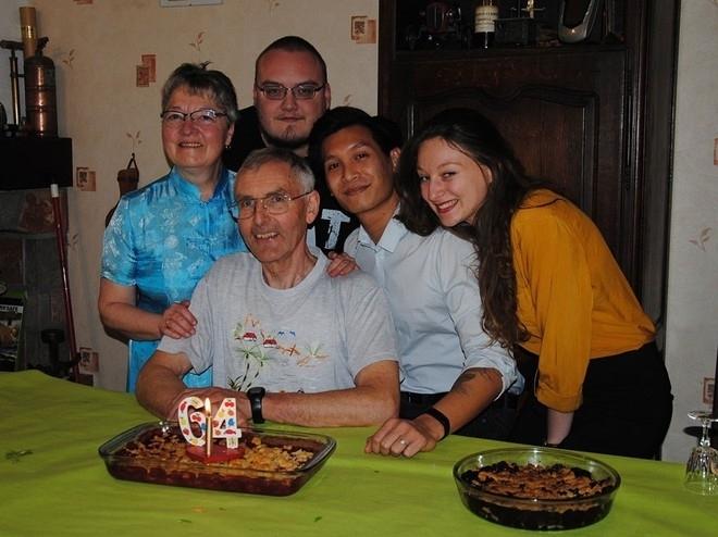 Tan and his adoptive family in France (Photo courtesy of Nguyen Van Tan/ via Thoi Doi)