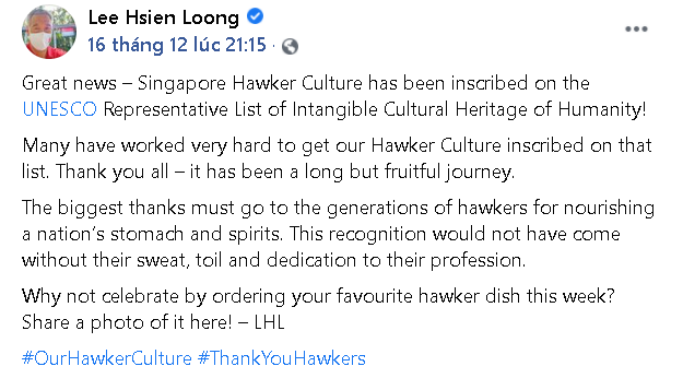 PM Lee Hsien Loong's post on Facebook (Photo: Captured)