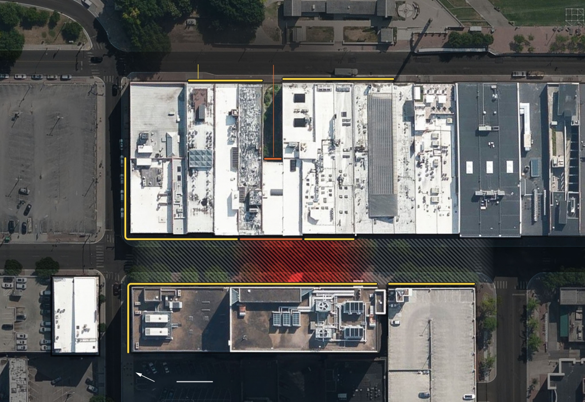 Highlighted areas below show where damage was visible in early photos and videos (Illustrations: NY Times)