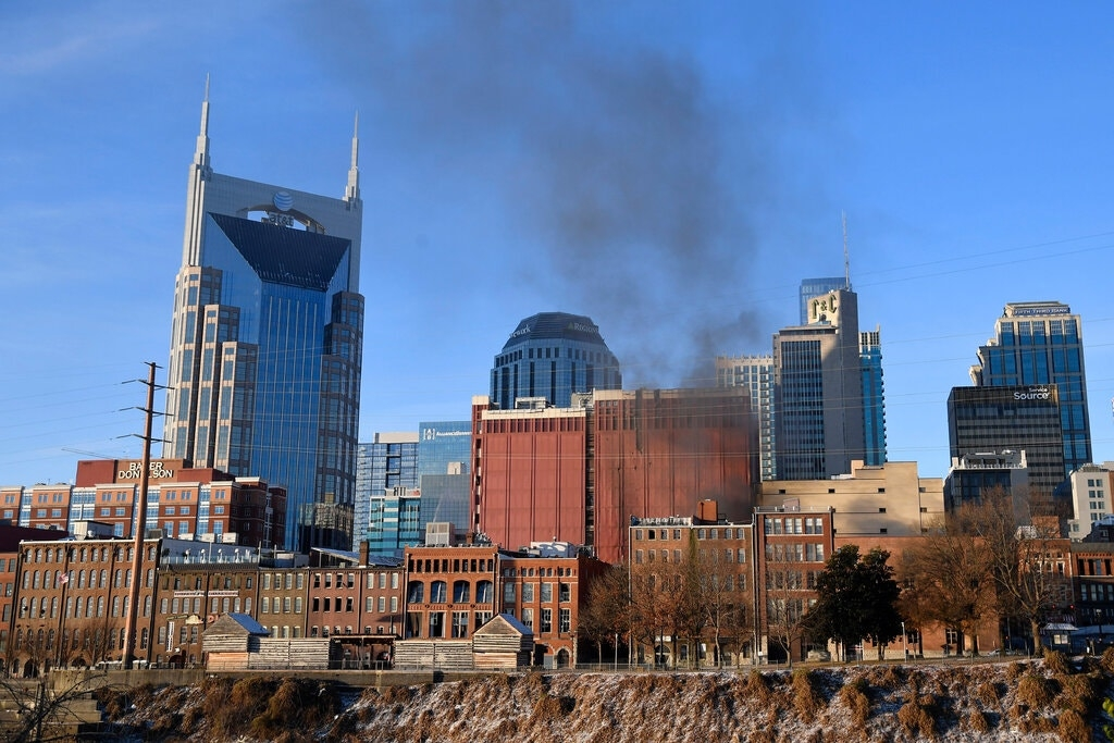 Smoke could be seen rising from Nashville after an explosion on Friday. (Photo: AP)