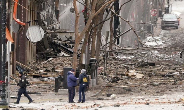 Emergency personnel work near the scene of an explosion in downtown Nashville, Tennessee, on Friday. (Photo: Reuters)