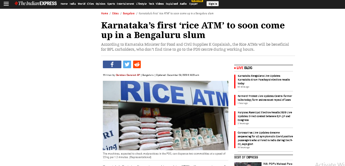 IndianExpress run an article about the launching of rice atm in india (photo: captured)