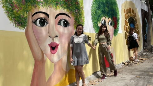 surprisingly beautiful frescoed alley in vung tau popularly shared amongst tourists