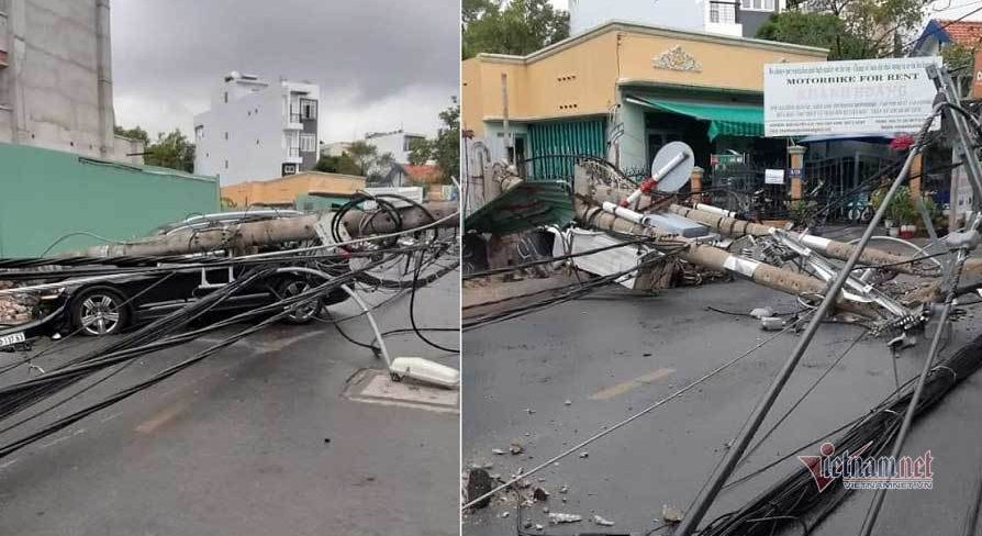 Foreigner knocks down power poles causing massive blackout in Thu Duc City