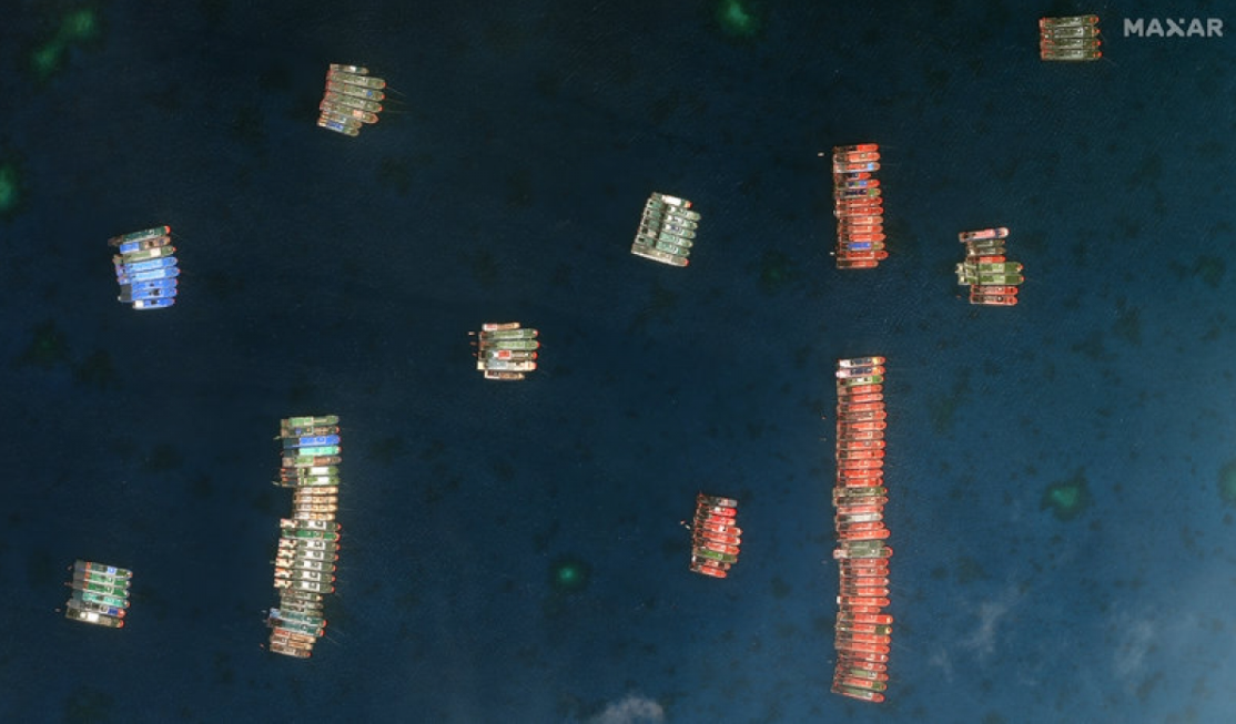 chinese boats tied up with military precision in whitsun reef said maritime expert