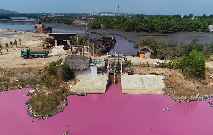 Flood control lake's water in Southern Vietnam turns lilac, cause is undisclosed- Video
