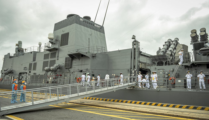 Japanese destroyer docked in Vietnam on friendly visit