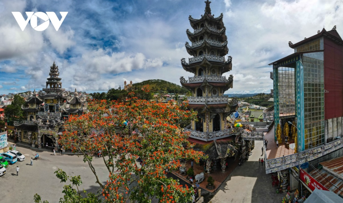 Unique pagoda built from ceramic pieces in Da Lat