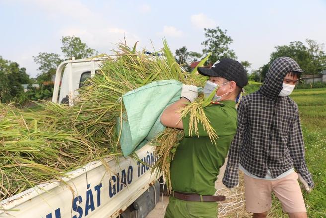 Police officers help people in quarantine areas harvest crops