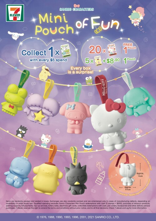 Sanrio characters back as handy silicone zip pouches exclusively by 7-Eleven