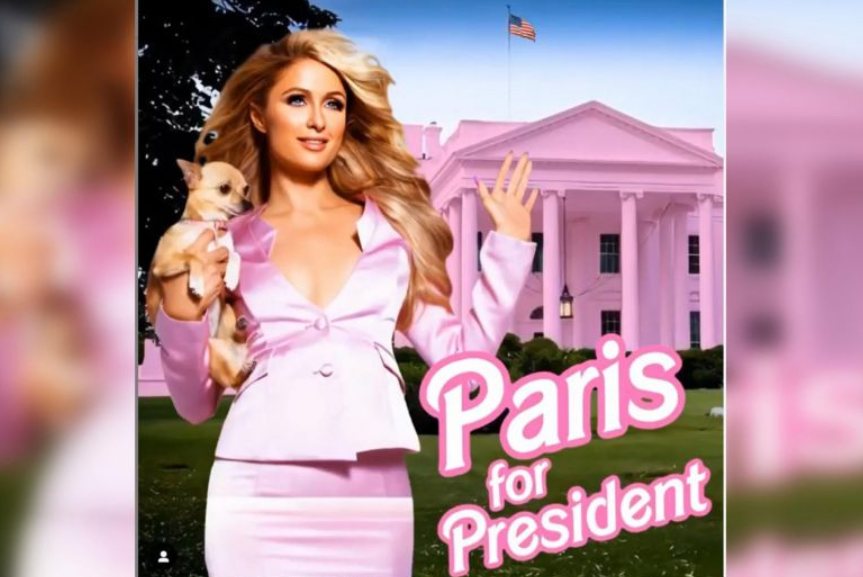 who is paris hilton celeb to run for us president chanting make america hot again
