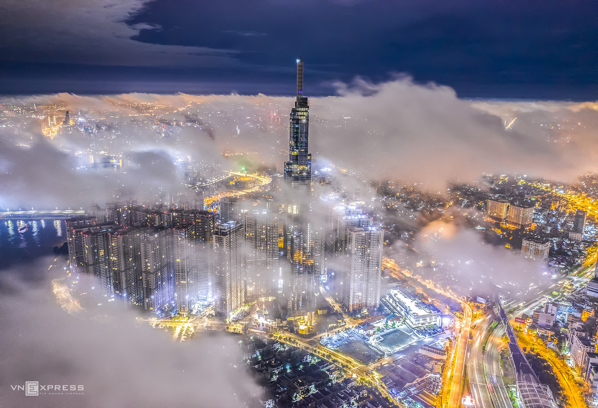 a dreamy saigon under cloud and fog