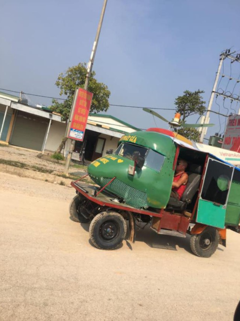 a vietnamese makes bizarre car by pimping it from a helicopters head